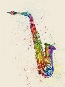 Un saxofon alto pintado de diferentes colores en un cuadro